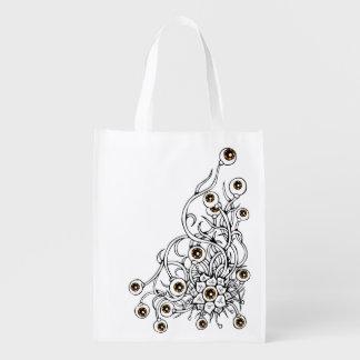 Blume mit Augen Wiederverwendbare Einkaufstasche