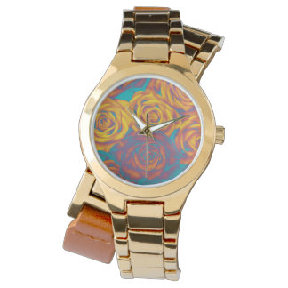 Blume rockabilly Uhr-Gelbaqua-Rosa-Rosen Armbanduhr