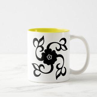 Blume u. Reben; Gelb Zweifarbige Tasse
