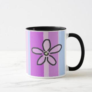Blume und lila blaue Streifen Tasse