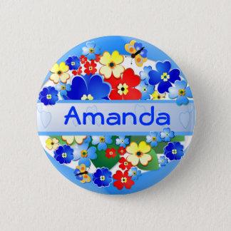 Blume und Schmetterlinge ~ Namen-Knopf Runder Button 5,1 Cm