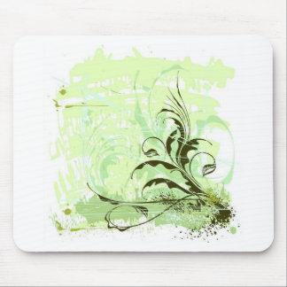 Blume-Verzierung-Schmutz-Hintergrund-Vektor GRÜNES Mousepads