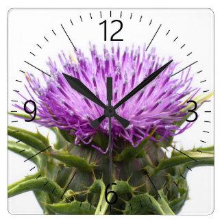 Blume von Burdock Quadratische Wanduhr