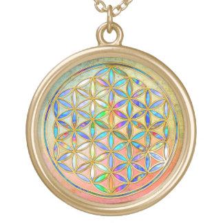Blume von Leben-/Blume-DES Lebens - Gold bunt Halskette Mit Rundem Anhänger