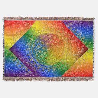 Blume von Leben-/Blume-DES Lebens - GOLDregenbogen Decke