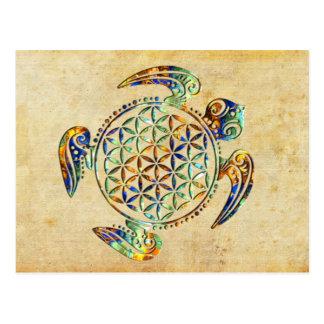 Blume von Leben-/Blume-DES Lebens - Schildkröte Postkarte