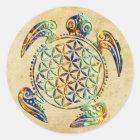 Blume von Leben-/Blume-DES Lebens - Schildkröte Runder Aufkleber