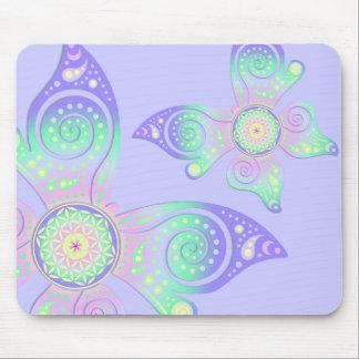 Blume von Leben-/Blume-DES Lebens - Schmetterling Mousepads