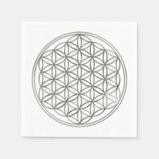 Blume von Leben-/Blume-DES Lebens - SILBER Papierserviette