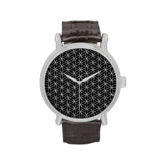 Blume von Leben-/Blume-DES Lebens - silbernes Armbanduhr