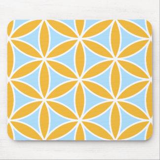 Blume von Leben großem Ptn orange weißem u. blau Mousepads