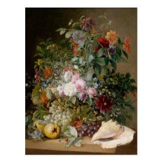 Blumeanordnung und Seashell Postkarte