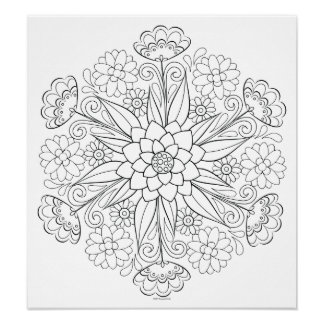 Blumemandala-Farbton-Plakat - färbbares Plakat