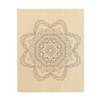 BlumeMandala. Vintage dekorative Elemente. Orien Holzwanddeko