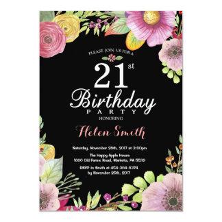 Blumen21. Geburtstags-Einladung für Frauen Karte