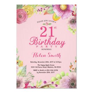 Blumen21. Geburtstags-Einladung für Frauen-Rosa 12,7 X 17,8 Cm Einladungskarte