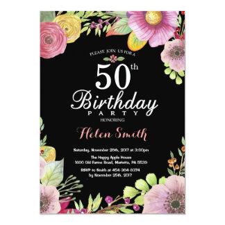 Blumen50. Geburtstags-Einladung für Frauen 12,7 X 17,8 Cm Einladungskarte