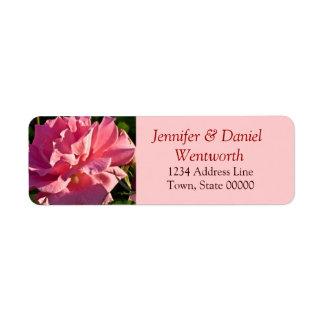 Blumen-Adressen-Etiketten rosa Rose Kleiner Adressaufkleber