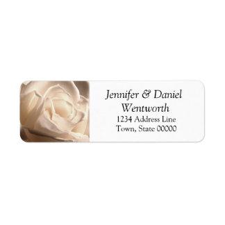 Blumen-Adressen-Etiketten Weiß-Rose Rücksendeetikett