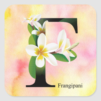 Blumen-Alphabet mit Watercolor-Hintergrund Quadratischer Aufkleber