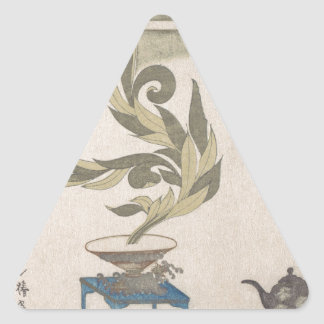 Blumen-Anordnung - Utagawa Itchinsai Dreieckiger Aufkleber