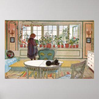 Blumen auf dem Windowsill durch Karl Larsson Poster
