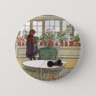 Blumen auf dem Windowsill durch Karl Larsson Runder Button 5,1 Cm