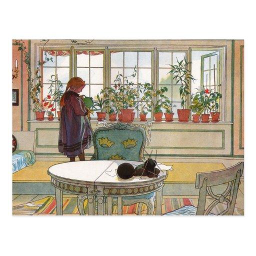 """""""Blumen auf dem Windowsill"""" durch Kunst Karls Lars Postkarte"""