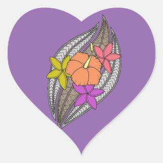 Blumen auf Flechtweide Herz-Aufkleber