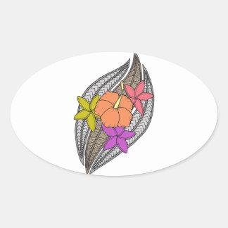 Blumen auf Flechtweide Ovaler Aufkleber