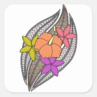 Blumen auf Flechtweide Quadratischer Aufkleber