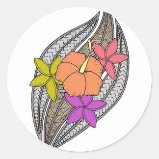 Blumen auf Flechtweide Runder Aufkleber