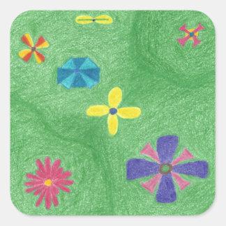 Blumen auf grasartigen Hügel-Aufklebern Quadratischer Aufkleber