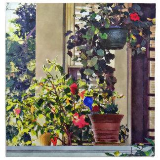 Blumen auf Portal Stoffserviette