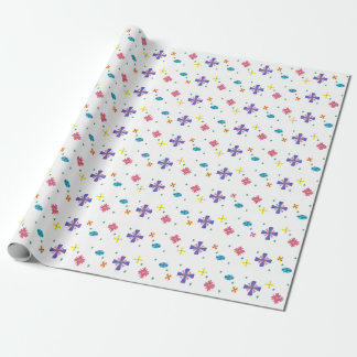 Blumen auf scharfer weißer Geschenk-Verpackung Geschenkpapier