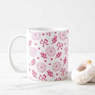 Blumen-Band-Herz-Rosa des Valentines Tages Kaffeetasse