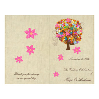 Blumen-Baum-Hochzeits-Programm 21,6 X 27,9 Cm Flyer
