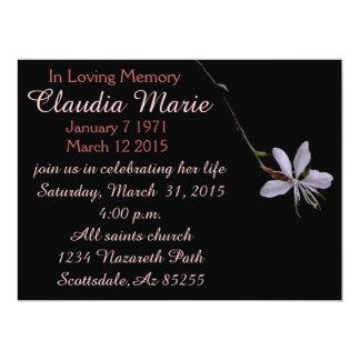 Blumen-Begräbniseinladung des Singles kleine Karte