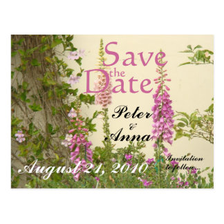 Blumen-Blumengarten Save the Date Postkarte