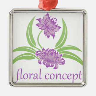 Blumen-Blumenikone Silbernes Ornament