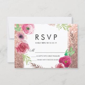 Flowers Bridal Shower Pink Rose Gold Glitter RSVP