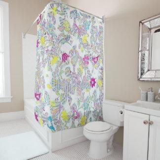 Blumen-, bunter Duschvorhang