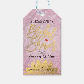 Blumen Chic-danken das rosa Glitter-Gold Ihnen Geschenkanhänger