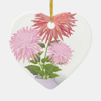 Blumen-Dahlien in einem Vase Keramik Herz-Ornament