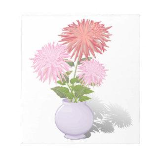 Blumen-Dahlien in einem Vase Notizblock