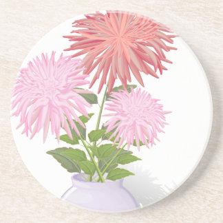 Blumen-Dahlien in einem Vase Sandstein Untersetzer