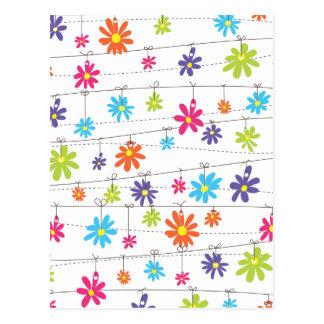 Blumen, die von einer Linie hängen Postkarte