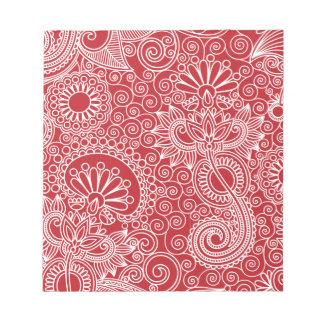 Blumen-Dschungel-Rot Notizblock