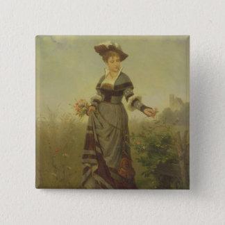 Blumen eines Damensammelns in einer Landschaft Quadratischer Button 5,1 Cm