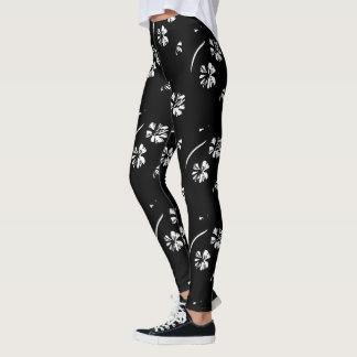 Blumen-Entwurfs-Schwarz-aktive Abnutzung Legging Leggings